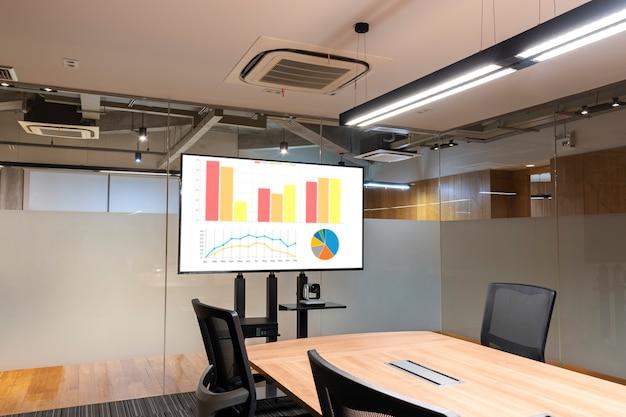 Maquette de présentation graphique sur écran de télévision dans la salle de réunion