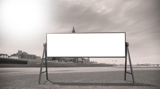 Maquette publicitaire vierge dans la rue. panneau d'affichage sur le fond de la plage