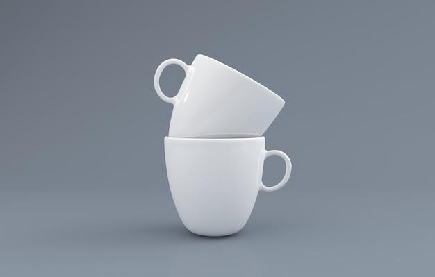 Maquette réaliste de deux tasses empilées blanches rendues en 3d