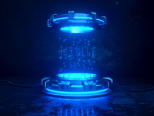 Maquette de rendu 3d futuriste. illustration du thème de l'espace. cyber plateformes et câbles avec néons lumineux.