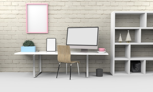 Maquette de rendu 3d ordinateur et tablette .3d illustration