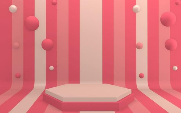 Maquette rendu 3d de podium rose design minimal