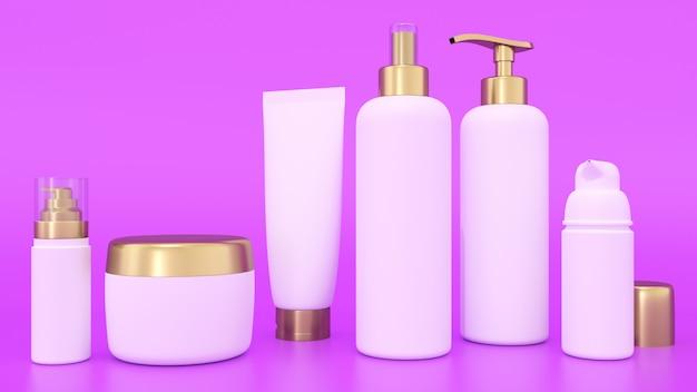 Maquette de rendu 3d pour contenants de cosmétiques