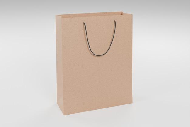 Maquette de sac à provisions en carton sur fond blanc. rendu 3d