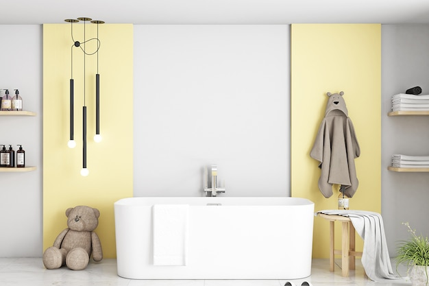 Maquette de salle de bain dans la chambre des enfants jaune