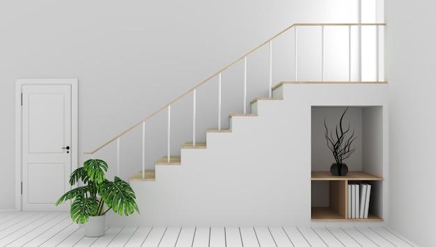 Maquette salle blanche avec escalier et décoration, style zen moderne. rendu 3d
