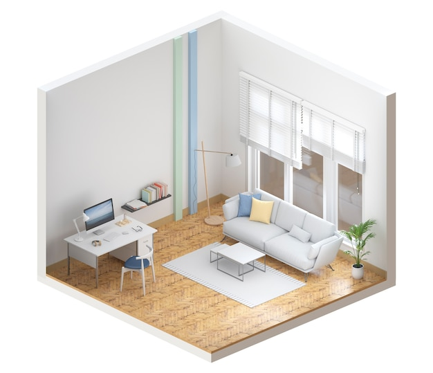 Maquette salon intérieur avec ordinateur de bureau, rendu 3d