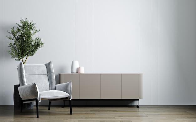 Maquette de salon moderne, chaise en velours gris, plante et console sur fond blanc vide
