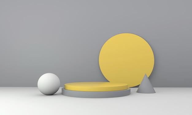 Maquette scène podium pour l'affichage du produit. forme de géométrie abstraite jaune et gris sur fond clair. rendu 3d