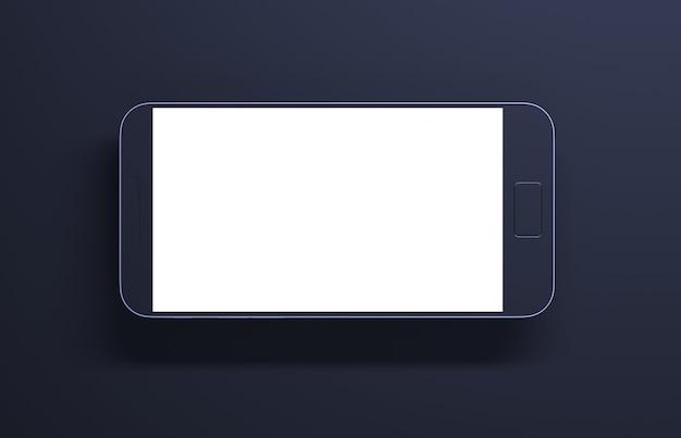 Maquette de smartphone d'un appareil de rendu 3d de téléphone portable sur fond sombre