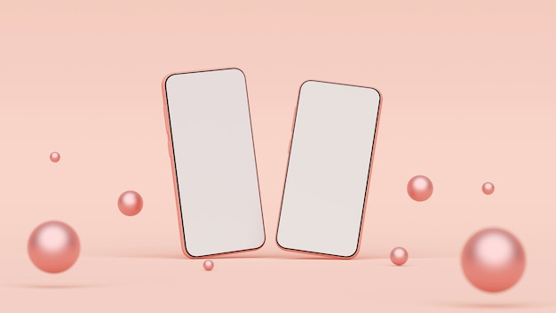 Maquette de smartphone à écran blanc sur fond rose, rendu 3d