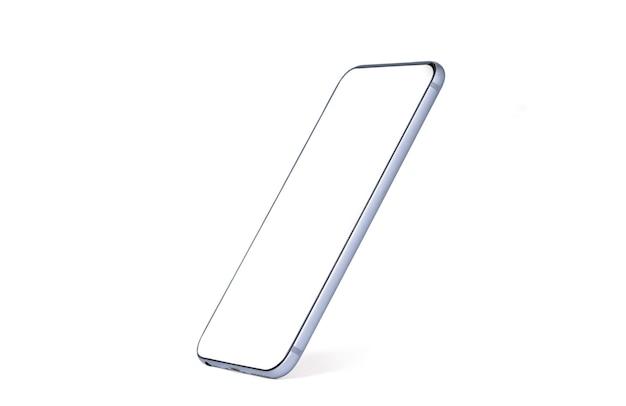 Maquette de smartphone, isolé du téléphone mobile avec modèle de cadre d'écran vide sur fond blanc.