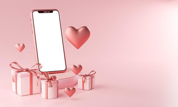 Maquette de smartphone thème de la saint-valentin forme de coeur d'amour et rendu 3d de boîte-cadeau