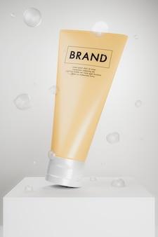 Maquette de soins de la peau sur podium blanc.