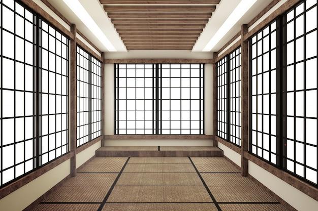 Maquette, style japonais, salle vide. rendu 3d