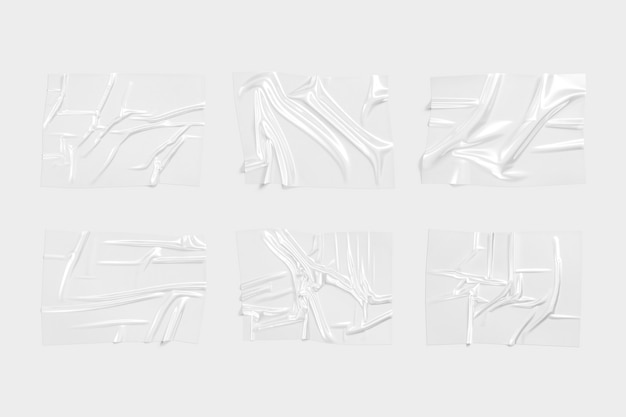 Maquette de superposition de film plastique transparent vierge maquette d'effet de film polymère vide