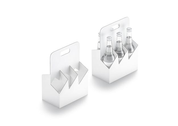 Maquette de support de carton de bouteille de bière en verre blanc vierge paquet de papier d'eau vide maquette isolé