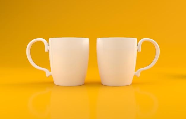 Maquette de tasse réaliste sur fond jaune rendu 3d