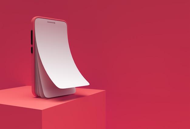 Maquette de téléphone intelligent avec remplacement d'écran vide rendu 3d en verre de protection d'écran.