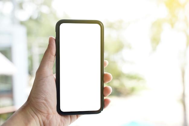 Maquette de téléphone mobile à écran blanc.