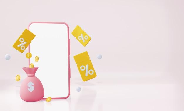 Une maquette d'un téléphone portable avec des coupons avec un sac d'argent et des pièces de monnaie rendu 3d