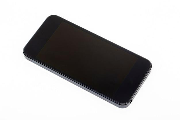 Maquette de téléphone portable noir sur blanc