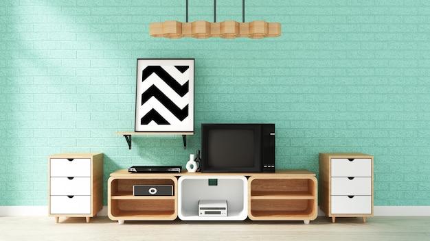 Maquette de télévision sur le mur de menthe dans le salon japonais. rendu 3d