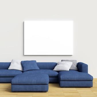Maquette en toile sur mur intérieur blanc avec canapé bleu