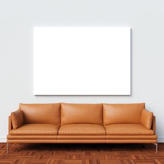 Maquette en toile sur un mur intérieur blanc avec un canapé marron clair