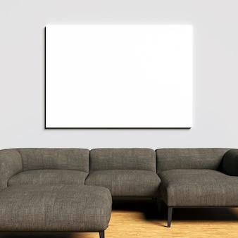 Maquette en toile sur un mur intérieur blanc avec un canapé marron