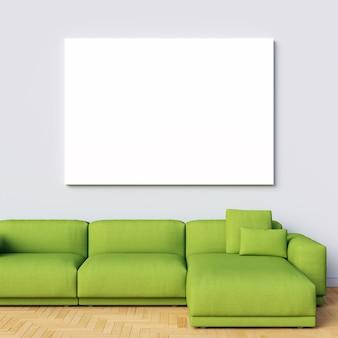 Maquette en toile sur mur intérieur blanc avec canapé vert