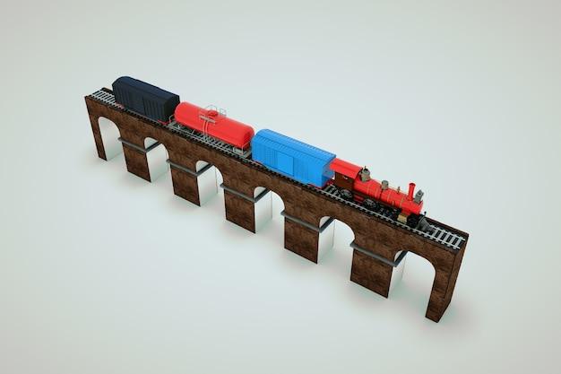 Maquette d'un train avec des voitures sur la voie ferrée. modèle 3d d'un train de marchandises sur une plate-forme. train sur le pont. objets isolés sur fond blanc