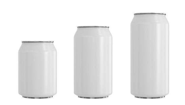 Maquette de trois canettes blanches en aluminium