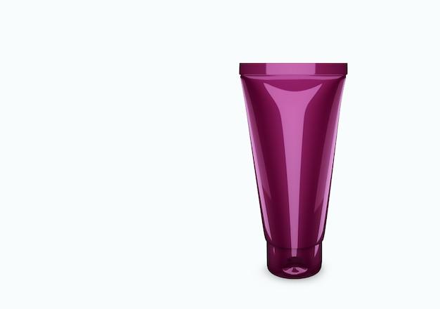 Maquette de tube de gommage nacre lilas profond isolée de l'arrière-plan : conception de l'emballage du tube de gommage. modèle vierge de soins d'hygiène, médicaux, corporels ou faciaux. illustration 3d