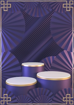 Maquette verticale japonaise d'art violet. géométrique minimal violet foncé. rendu 3d