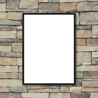 Maquette vide cadre photo affiche sur le mur de briques.