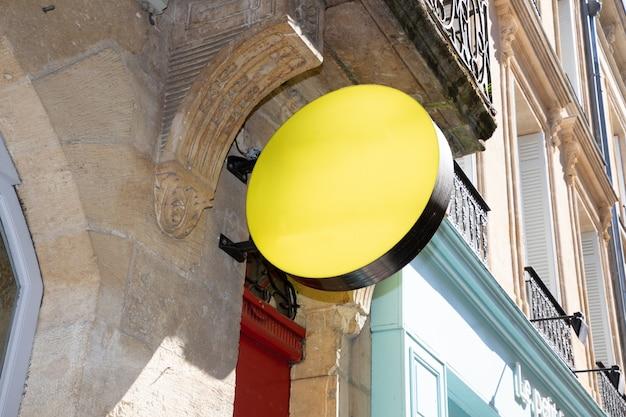 Maquette vide vide rond jaune jaune de l'enseigne vintage