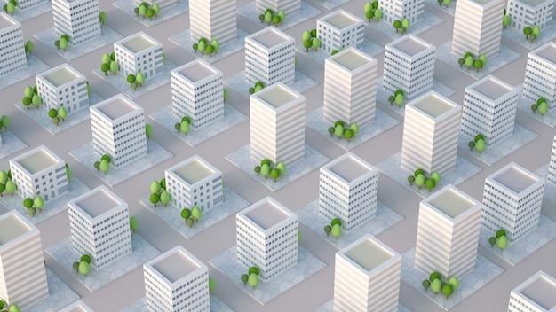 Maquette de la ville avec des bâtiments résidentiels. illustration 3d, rendu 3d.