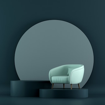 Maquettes de meubles et design d'intérieur de salon bleu minimal et décoration de meubles
