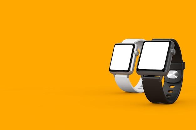 Maquettes et sangles de montres intelligentes modernes en noir et blanc avec écran blanc pour votre conception gros plan sur fond jaune. rendu 3d