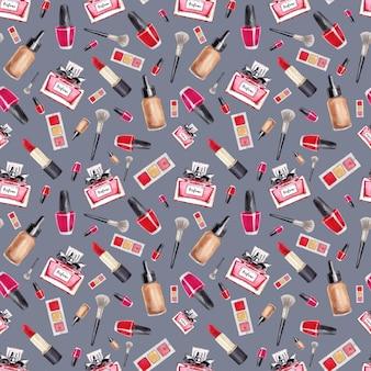 Maquillage modèle sans couture. mode. accessoires glamour. modèle aquarelle avec rouge à lèvres, parfum et vernis à ongles