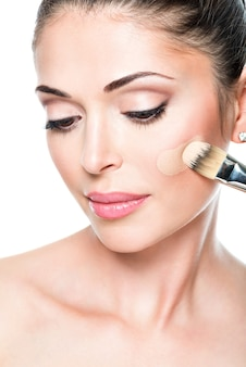 Maquilleur appliquant un fond de teint liquide sur le visage de la femme