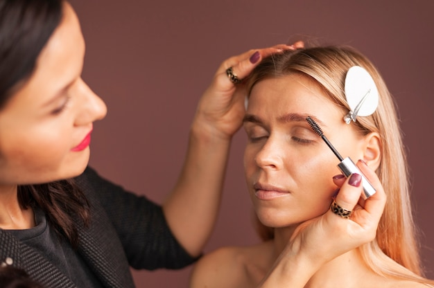 Maquilleuse féminine apporte des sourcils de jeune femme avec une brosse professionnelle