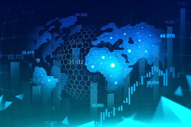 Marché boursier ou graphique de trading forex au concept futuriste