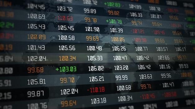 Marché boursier et investissement indices évoluant en hausse ou en baisse