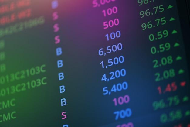 Marché boursier numérique graphique graphique entreprise bourse de négociation analyse investissement financier