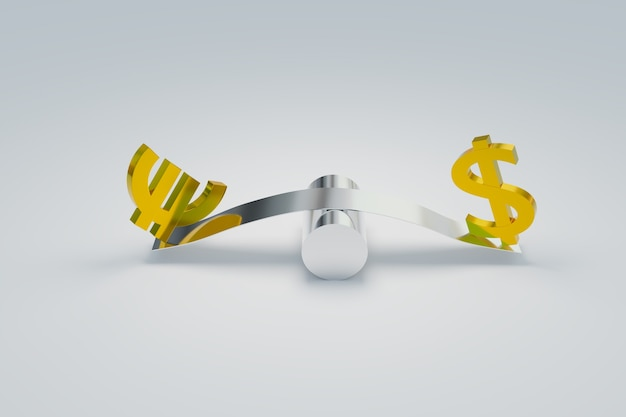 Marché forex du trading eurusd et symboles du dollar, rendu d'illustrations 3d