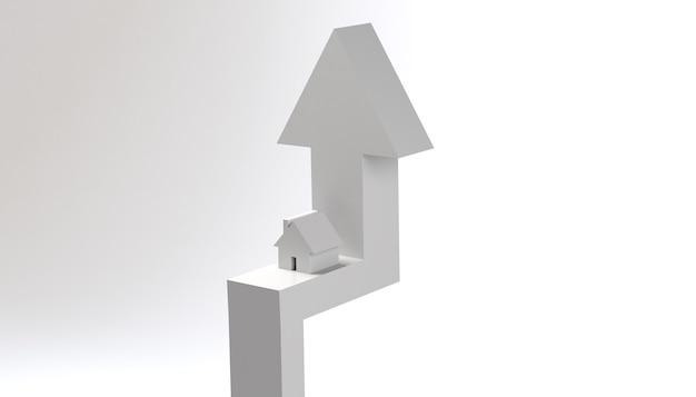 Marché immobilier à la hausse flèche vers le haut avec illustration 3d de fond de bannière de maison