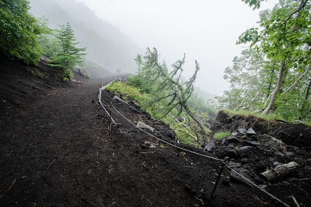 Marcher dans la montagne fuji avec brouillard