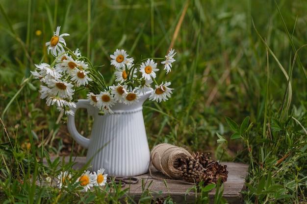 Marguerites blanches dans un vase en céramique avec des ciseaux